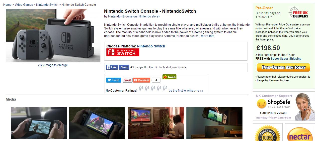 Nintendo Switch prezzo confermato